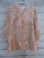 Alfred Dunner Women's Size 16 Pullover Faux Pearl Beaded Blouse top V-neck Shirt