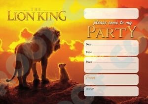 #101 THE LION KING - Pack of 10 kids children birthday party INVITATIONS