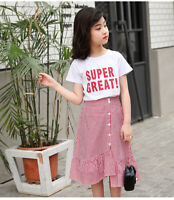IENENS Kids Fashion Girls Casual Clothes Sets Tops + Dress Outfits Suit Clothing