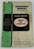 John Deere Model K Spreader Operator Manual OM-C19-1249 Vintage Paper Ephemera