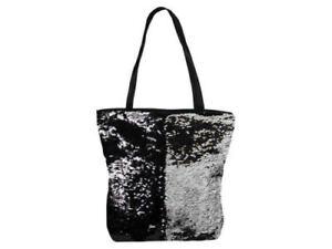 Wende Pailletten Taschen Shopper Badetasche Handtasche Beach schwarz silber
