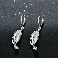 Pretty 925 Sterling Silver Filled Feather Design Hoop Dangle Earrings Stunning