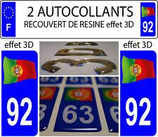 2 stickers plaque immatriculation auto DOMING 3D RESINE FLOT FAGNON PORTUGAL 92