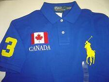 "NEW MENS RALPH LAUREN ROYAL ""CANADA"" W/YELLOW PONY S/S CUSTOM POLO SHIRT SIZE S"