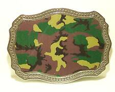 Belt Buckle, Military Camoflauge Colors Pewter Rectangle Shape