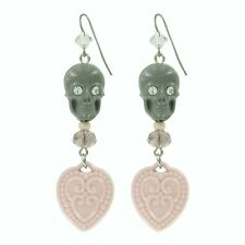 "Tarina Tarantino Happy Together ""Catrina"" Skull Earrings Grey ~~Made in USA~~"