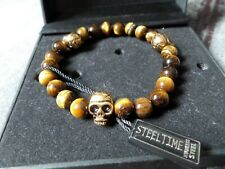 Tiger's eye SEMI PRECIOUS STONES STEEL TIME JEWELLERY-SKULLS