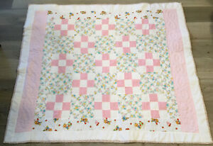 Patchwork Crib Quilt, Nine Patch, Hand Made, Floral Calico Prints, Checks, Dots