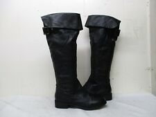 STEVE MADDEN OTK Black Leather Over the Knee Zip Boots Womens Size 7.5 M