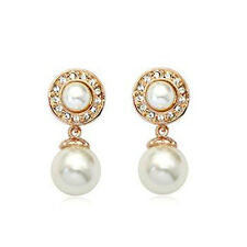ITALINA 18K ROSE GOLD PLATED GENUINE AUSTRIAN CRYSTAL AND PEARL DANGLE EARRINGS