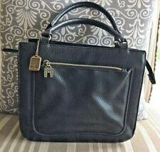 Vintage Relic Top Handle Satchel Purse Black Pebbled Leather Medium Square