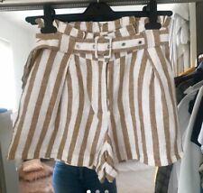 Stradivarius White Brown Striped Paperbag Waist Linen Blend Shorts With Belt