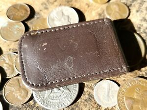 Used / *Hard to Read / Brown / Lamb Skin Leather / Magnetic / Money Clip