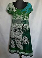 AUTHENTIC DESIGUAL PAISLEY LOGO EMBROIDERY GREEN COTTON WOMEN'S DRESS-SIZE:16/XL