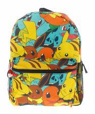 "Pokemon Backpack Tattoo Pikachu Print All Characters 16"" Schoolbag NEW"