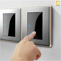 Light Switch LED Click Switch Mirror Acrylic 1/2/3/4 Gang 1 Way 2 Way Panel