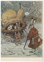 """1955 """"Sleeve"""" HARE Mouse FROG Dressed fairy tale by RACHEV Old Russian Postcard"""