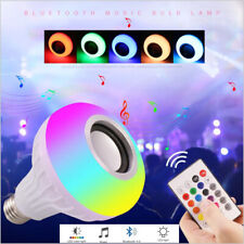 LED Wireless Bluetooth RGB Bulb Light Speaker 12W Smart Music Play Lamp + Remote