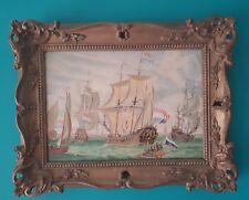 Dipinto olio su tela fine 800 battaglia navale oil painting old Peinture  l'huil