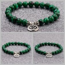Fashion Men Women 8mm Natural Stone Malachite Strand Chakra Mala Bracelets Gift