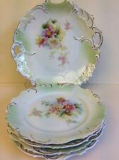 "Antique Porcelain Prussia Set of Serving Tray & 4 Plates, 7 3/4"" Dia"