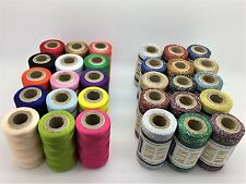 30 Art Silk Rayon Machine Embroidery and Metallic Thread Spools Assorted Colours