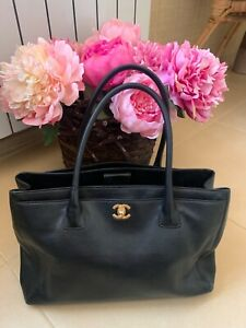 Chanel cerf tote black leather bag