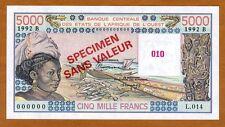 SPECIMEN West African States, Benin, 5000 (5,000) Fr, P-208Bs UNC