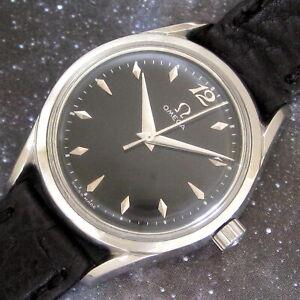 Mens 1950 Omega BLACK Dial 420 Caliber Fancy Lug Vintage S/S Swiss Made Watch A+