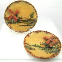 Spinning Windmill Plates Wood Wall Decor Midcentury Kitsch Hand Painted Lot of 2