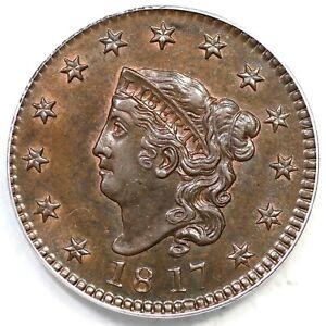 1817 N-9 R-2 PCGS MS 63 BN Matron or Coronet Head Large Cent Coin 1c