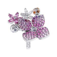 Lastwagen Cleef Arpels Melia Pink Saphir-Diamant Blumenmotiv Ring (0000943