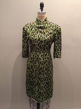 Vintage Chinese Cheongsam Green Brown Black Leopard Print Silk Dress Sz S/M