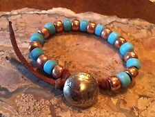 African TRADE BEAD Turquoise Buffalo Nickel BRACELET Unisex Guys Will Luv This