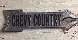 """Chevy Country 6"""" x 20"""" Embossed Metal Arrow Sign Diamond Man Cave Chevrolet"""