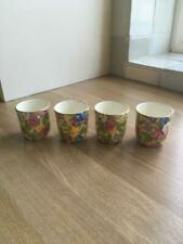 More details for set of 4 royal winton chintz sweet pea egg cups