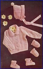 Baby knitting pattern Copy in 3 ply JUMPER Cables Bonnet Bootees