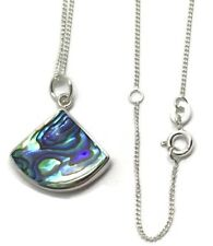 Abalone paua shell pendant solid Sterling Silver, Gift Box, new. Fan shaped.