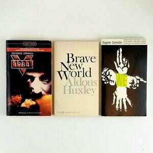 Orwell 1984 We Zamiatin Brave New World Huxley Lot 3 Dystopian Vintage Books