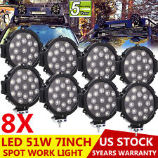 8x 7inch 51W Spot LED Work Light Boat 4X4 SUV ATV Offroad Round Driving Fog Lamp