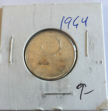 1964 Canadian 25 Cent in BRILLIANT UNCIRCULATED (BU) Condition