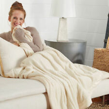"""Brookstone NAP Touch Throw Blanket - NEW - 50"""" x 70"""" - Ivory - NEW"""