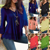 Stylish Women's Casual Long Sleeve Tank Tops Loose Lace T-Shirt Blouse Plus Size