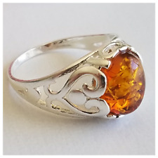 Honey Amber Ring 2.5gr Size 6 Baltic Amber 925 Sterling Silver Ring Genuine