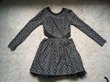 Jones & Jones Black Lace Cut Out Long Sleeve Bow Detail Dress Size 6