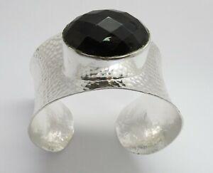 01 Silver Cuff Bangle Natural Gemstone Smoky Quartz Oval Stone Hammered Bracelet