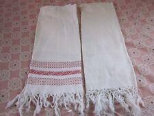 2 pc lot white damask floral sun stars Irish linen fringed hand bath towels