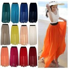 Women Double Layer Chiffon Pleated Retro Long Maxi Dress Elastic Waist Skirt*Lng