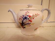 Rare! Vintage Shelley Wild Flowers Teapot Blue Fine Bone China