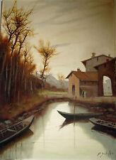 "Pittore Francesco Schiller (Venezia 1923)  OLIO SU TELA "" PAESAGGIO VENETO """